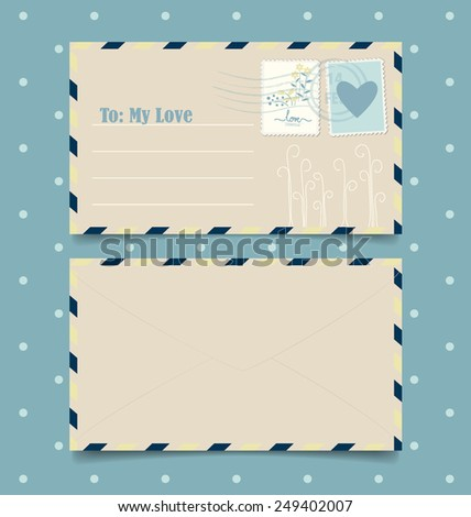 Collection of love envelopes with postage stamps. Vector illustration. - stock vector