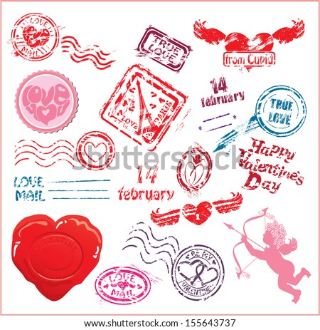 Collection of love mail design elements - postmarks- Valentine`s Day or Wedding postage set.  - stock vector