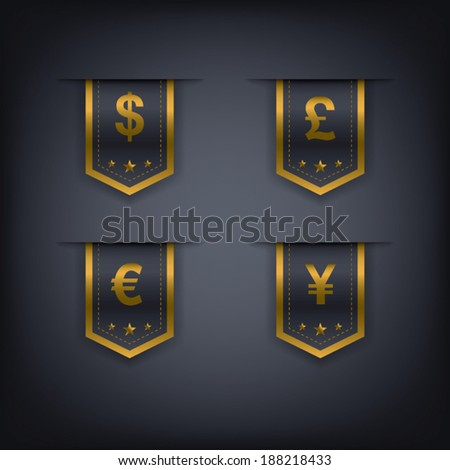 Collection of luxury vertical tags with different currencies suitable for web design, e-shops, etc. Eps10 vector illustration. - stock vector