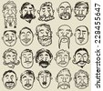 Collection of male faces with different kind of mustache. - stock vector