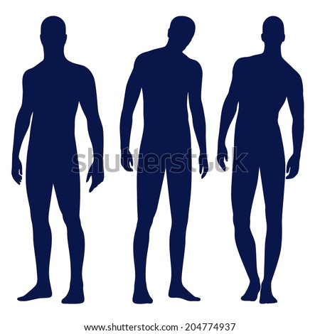 Collection of male silhouettes in front view. Vector illustration, isolated on white background  - stock vector