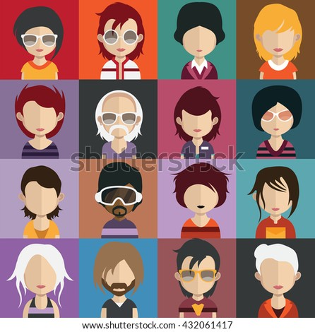 Collection of 16 Man and woman Characters Set 14 - stock vector