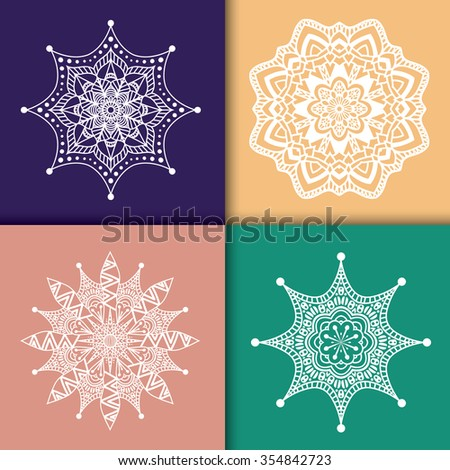 Collection of 4 mandala pattern, set of hand drawn icons. Ethnic motif for background, fabric, t-shirt print, graphic elements, scrapbook, etc. Also it looks gorgeous as a seamless pattern. Vector  - stock vector