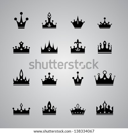 collection of many different crowns - stock vector
