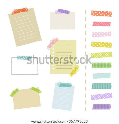 Collection of masking tape pieces and papers / vector eps 10 illustration - stock vector