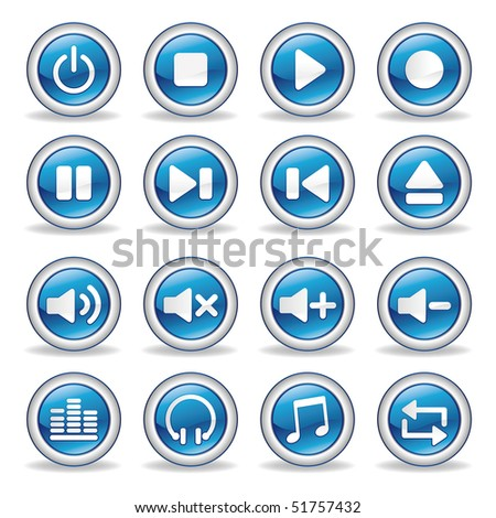 collection of media player glossy buttons - stock vector