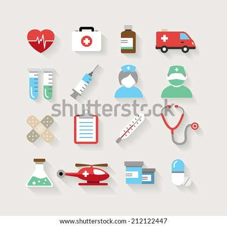 Collection of medical icons in modern flat design style. - stock vector