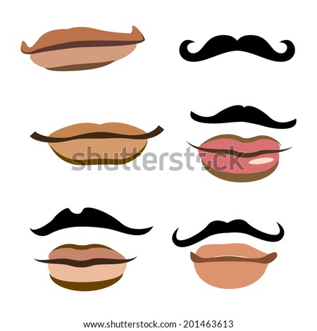 Collection of men mouths with lips - stock vector