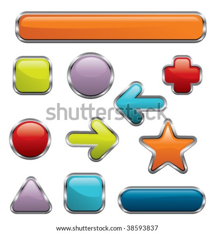 Collection of metallic, silver, colored, glossy web elements. Good for internet applications, web sites, presentations, search engines. - stock vector