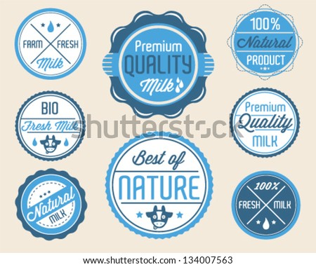 Collection of Milk Badges and Stickers in Retro Style - stock vector