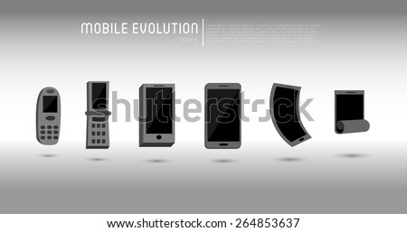 collection of mobile evolution icons - stock vector