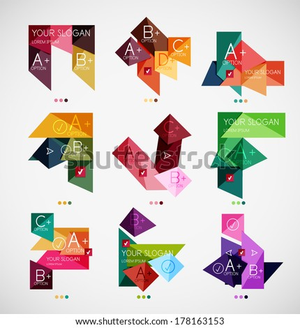 Collection of modern business infographic templates made of abstract geometric shapes. Option banners mega set - stock vector