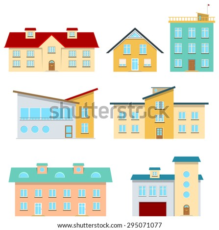 Collection of modern city and country houses - stock vector