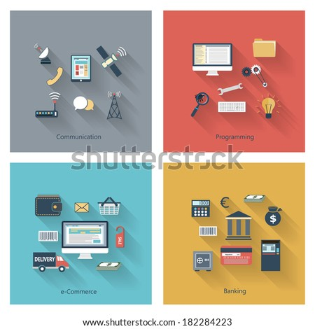 Collection of modern concept icons in flat design with long shadows and trendy colors for web, mobile applications, communication, travel, reporting, education etc. Vector eps10 illustration - stock vector
