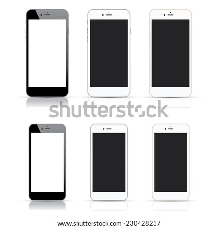Collection of modern highly detailed smartphones. Realistic vector illustrations for multiple uses. Two different sizes in three different colors. Black and white cell phones isolated on white. - stock vector