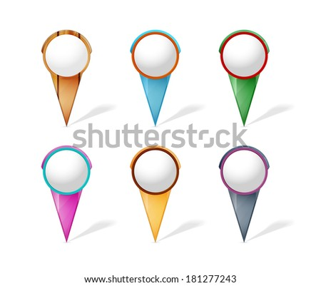 Collection of modern stylish blank pointers with empty tag / set of blank map pins / the map pin - stock vector