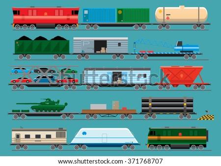 Collection of modern trains and various types of freight wagons for the transport of vehicles, fuel, goods and equipment. Vector illustration - stock vector