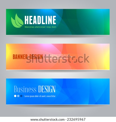 Collection of modern vector banners with bright abstract background  - stock vector