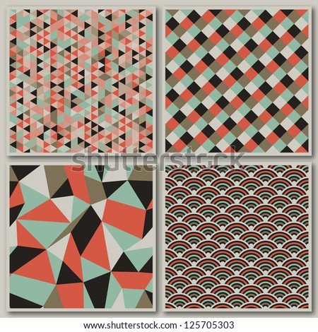 Collection of mosaic seamless patterns. Vector illustration. - stock vector