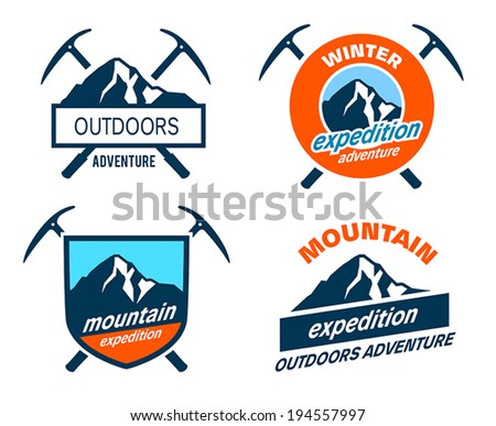 Collection of mountain expedition icons - stock vector