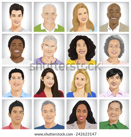 Collection of Multi-ethnic people vector - stock vector