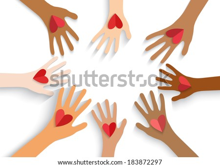 Collection of multicolored hands holding red heart. Vector EPS10. - stock vector