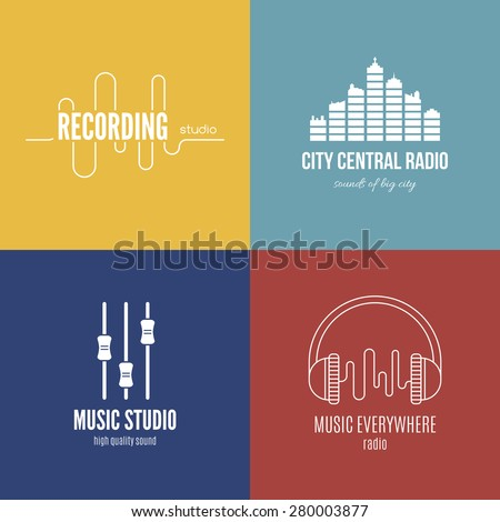 Collection of music logos made in vector. Recording studio labels hipster style. Pod cast and radio badges with sample text. Vintage t-shirt design elements with musical elements - guitar, horns. - stock vector
