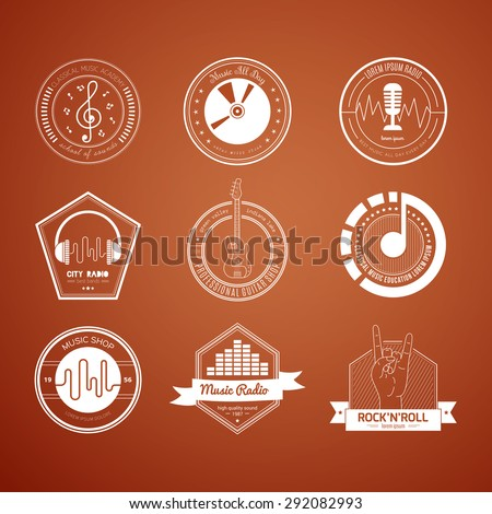 Collection of music logos made in vector. Recording studio labels hipster style. Podcast and radio badges with sample text. Vintage t-shirt design elements with musical elements - guitar, horns.  - stock vector