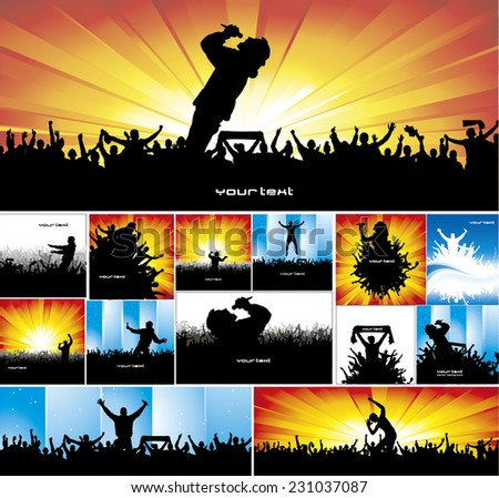 Collection of music posters - stock vector