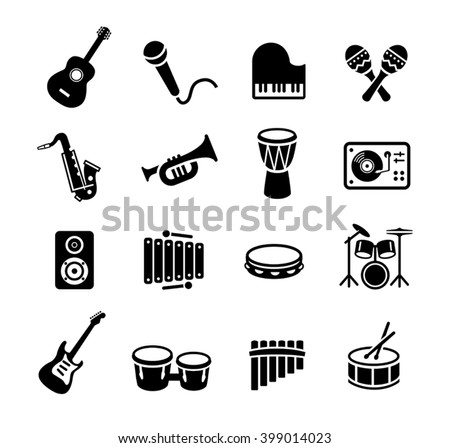 Collection of musical instruments icons. Can be used on print materials or on websites with subjects related to music, dance, singing, concerts or playing musical instruments. - stock vector
