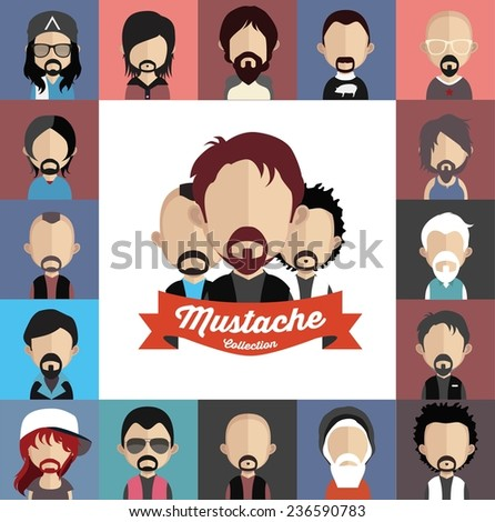 collection of mustache with face - stock vector