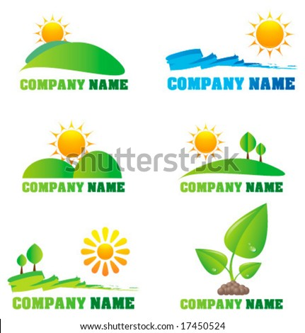 Collection of nature logos and icons - stock vector