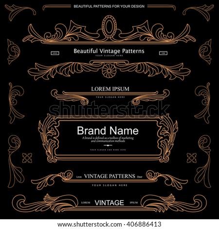 Collection of nice vintage patterns. Flourishes calligraphic ornaments and frames. Retro style of design elements for postcards, posters, banners, dividers, invitations, logos. Vector template - stock vector