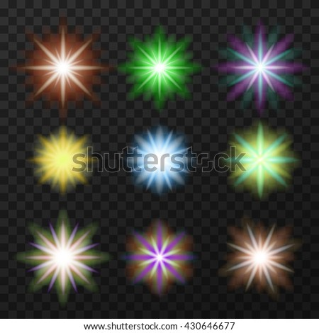 Collection of nine colorful, bright stars. Abstract shapes, spheres. Multicolor stars.  Vector, eps10. - stock vector
