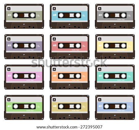 Collection of nine colorful plastic audio cassette tape. Set of different pastel color music tapes. old technology, realistic retro design, vector art image illustration, isolated on white background - stock vector
