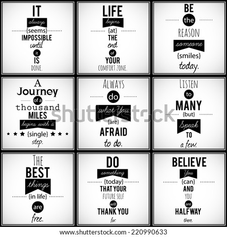 Collection of nine positive, inspirational, motivational quotes in retro style. VECTOR art. - stock vector