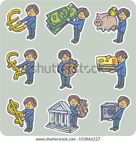 Collection of nine situations about people and money - stock vector