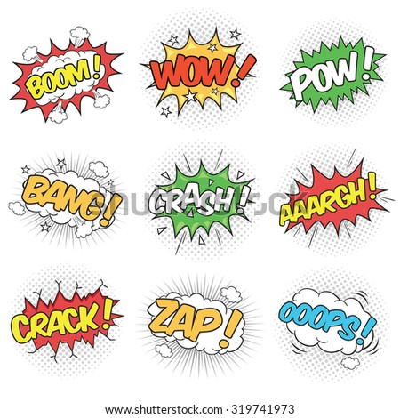 Collection of Nine Wording Sound Effects for Comic Speech Bubble - stock vector