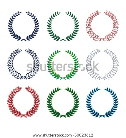Collection of nine wreaths. They consist of various plants. All wreaths of different colors. - stock vector