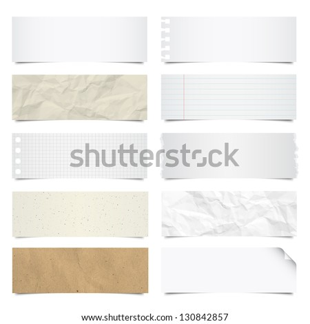 Collection of note papers background ,Illustration eps 10 - stock vector