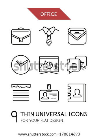 Collection of office trendy thin line icons for your flat design isolated on white - stock vector