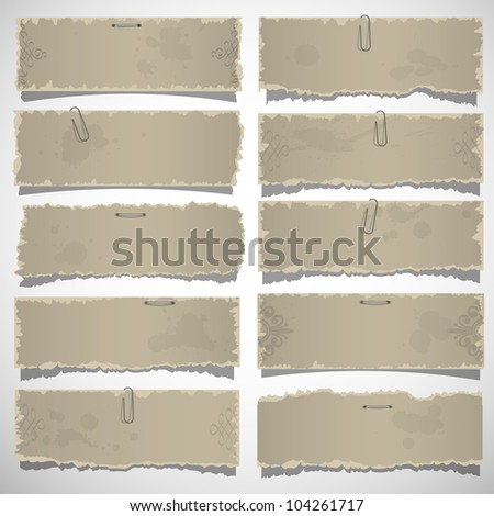 Collection of old note papers. Vector eps10 - stock vector