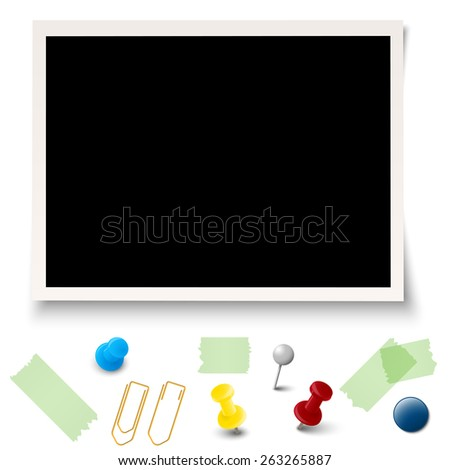 collection of old photo with different office accessories - stock vector