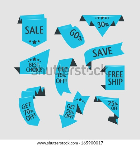 Collection of origami styled website ribbons, corners, labels, curls and tabs - stock vector