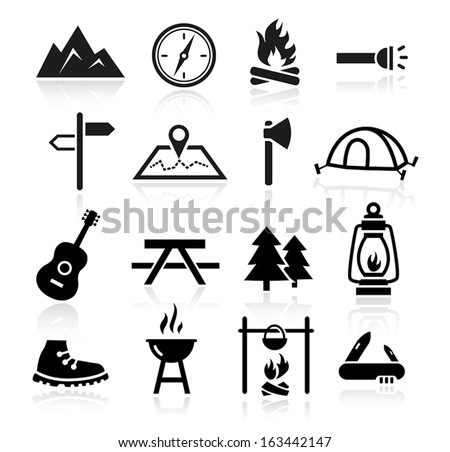 Collection of outdoor and camping icons - stock vector