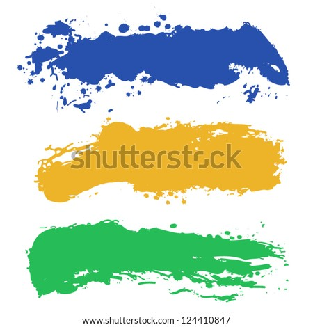 Collection of paint splash. Vector set of brush strokes. - stock vector