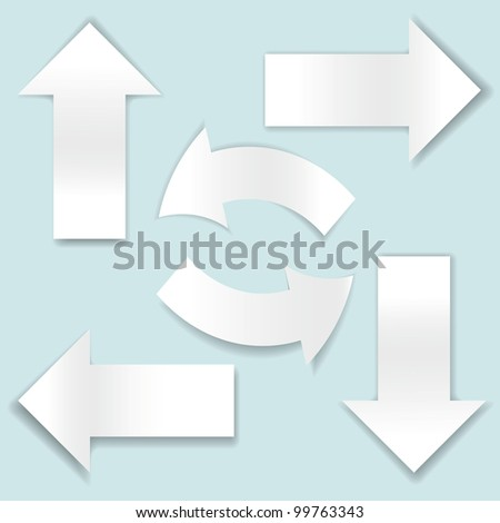 Collection of paper arrows on blue background. Vector illustration - stock vector