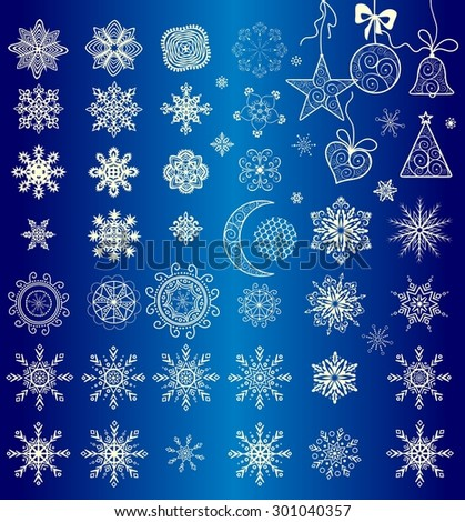 Collection of paper snowflakes and hanging lacy toys for winter holiday - stock vector