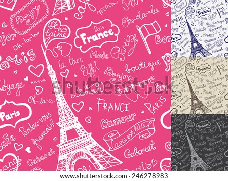 Collection of Paris symbols,lettering,emblems in seamless pattern,background set.Hand drawn doodle sketchy,Badges,Eiffel tower.French style,love decor.Bicolor Vector illustration - stock vector