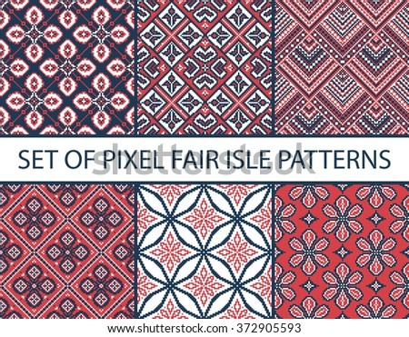 Collection of pixel retro seamless patterns with stylized fair isle ornament. Vector illustration. - stock vector